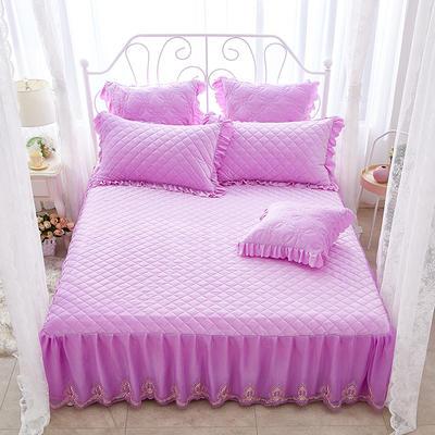 蜜恋水晶绒夹棉蕾丝床裙系列---单床裙 200cmx220cm 浅紫