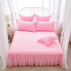 蜜恋水晶绒夹棉蕾丝床裙系列---单床裙 200cmx220cm 粉色
