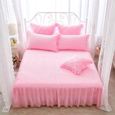 蜜恋水晶绒夹棉蕾丝床裙系列---单床裙 150cmx200cm 粉色