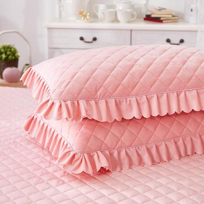 蜜恋水晶绒夹棉蕾丝床裙系列--单枕套 48cmX74cm/一对 玉色