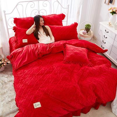 牡丹花开水晶绒夹棉蕾丝床裙系列四件套 1.8m(6英尺)床 大红
