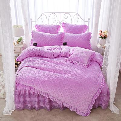 牡丹花开水晶绒夹棉蕾丝床裙系列四件套 1.5m(5英尺)床 浅紫
