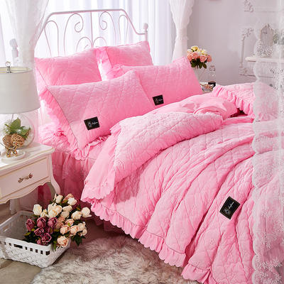 牡丹花开水晶绒夹棉蕾丝床裙系列--单被套 220x240cm 粉红