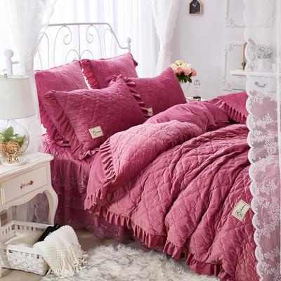 牡丹花开水晶绒夹棉蕾丝床裙系列--单被套 200X230cm 豆沙红