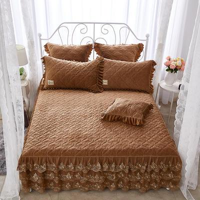 牡丹花开水晶绒夹棉蕾丝床裙系列--单床裙 180cmx200cm 咖色