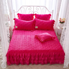 牡丹花开水晶绒夹棉蕾丝床裙系列--单床裙 180cmx220cm 玫红