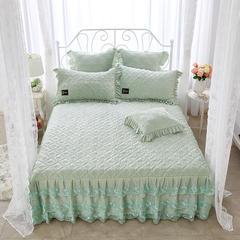 牡丹花开水晶绒夹棉蕾丝床裙系列--单床裙 180cmx220cm 抹茶绿