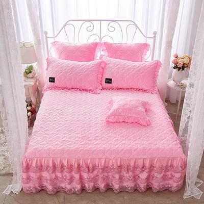 牡丹花开水晶绒夹棉蕾丝床裙系列--单床裙 150cmx200cm 粉红