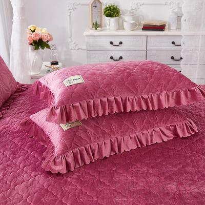 牡丹花开水晶绒夹棉蕾丝床裙系列--单枕套 48cmX74cm/一对 豆沙红