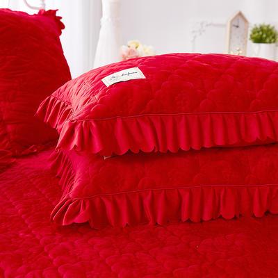 牡丹花开水晶绒夹棉蕾丝床裙系列--单枕套 48cmX74cm/一对 大红