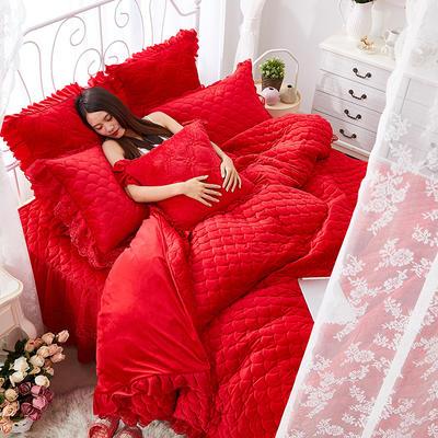 翩翩花舞水晶绒夹棉蕾丝床裙系列四件套 1.5m(5英尺)床 大红