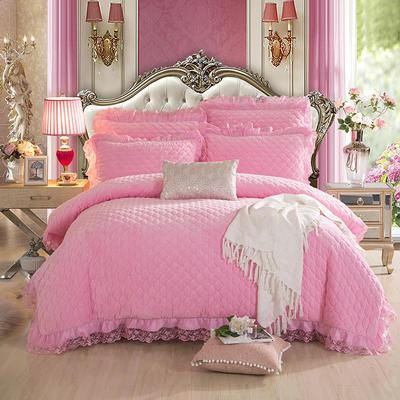 翩翩花舞水晶绒夹棉蕾丝床裙系列四件套 2.0m(6.6英尺)床 粉色