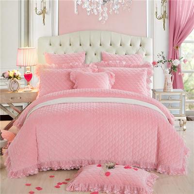 翩翩花舞水晶绒夹棉蕾丝床裙系列四件套 1.5m(5英尺)床 玉色
