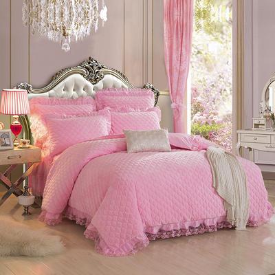 翩翩花舞水晶绒夹棉蕾丝床裙系列--单被套 200X230cm 粉色