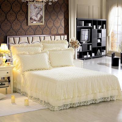 翩翩花舞水晶绒夹棉蕾丝床裙系列--单床裙 150cmx200cm 米色