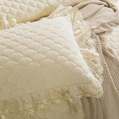 翩翩花舞水晶绒夹棉蕾丝床裙系列--单枕套 48cmX74cm/一对 米色