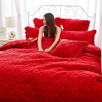 雀舞水晶绒夹棉蕾丝床裙系列四件套 1.8m(6英尺)床 大红