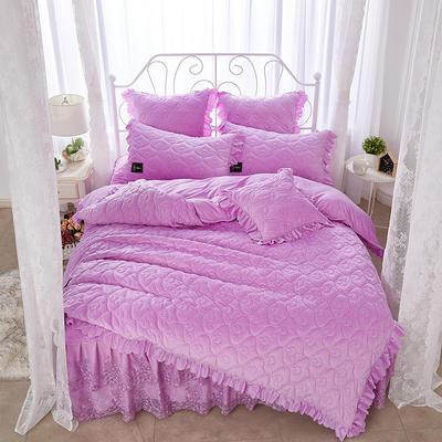 雀舞水晶绒夹棉蕾丝床裙系列四件套 1.5m(5英尺)床 浅紫