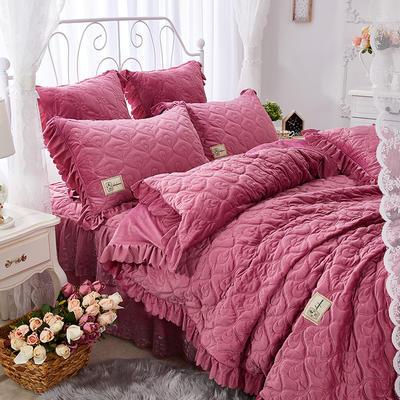 雀舞水晶绒夹棉蕾丝床裙系列--单被套 220x240cm 豆沙红