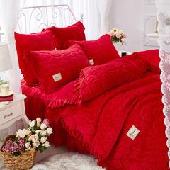 雀舞水晶绒夹棉蕾丝床裙系列--单被套 220x240cm 大红