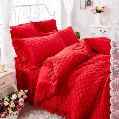 翩翩花舞水晶绒夹棉蕾丝床裙系列--单被套 200X230cm 大红