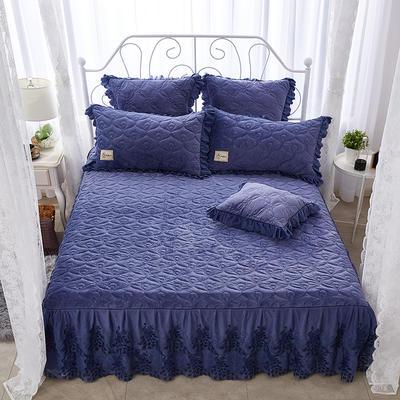雀舞水晶绒夹棉蕾丝床裙系列--单床裙 150cmx200cm 蓝灰