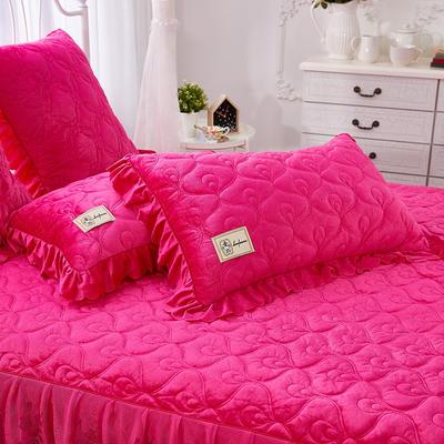 雀舞水晶绒夹棉蕾丝床裙系列--单枕套 48cmX74cm/一对 玫红