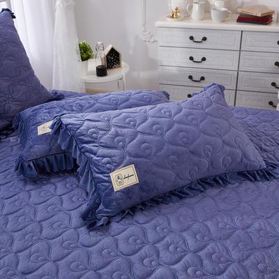 雀舞水晶绒夹棉蕾丝床裙系列--单枕套 48cmX74cm/一对 蓝灰
