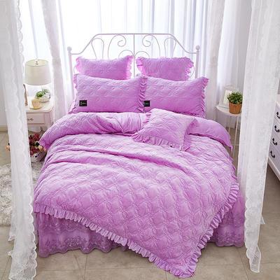 秀色玫瑰水晶绒夹棉蕾丝床裙系列四件套 1.8m(6英尺)床 浅紫