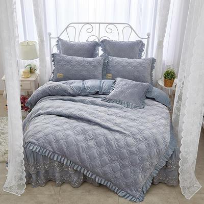 秀色玫瑰水晶绒夹棉蕾丝床裙系列四件套 1.5m(5英尺)床 浅灰