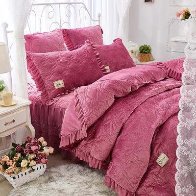 秀色玫瑰水晶绒夹棉蕾丝床裙系列--单被套 220x240cm 豆沙红