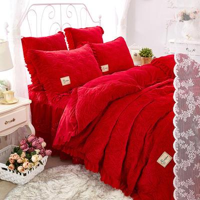秀色玫瑰水晶绒夹棉蕾丝床裙系列--单被套 200X230cm 大红