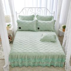 秀色玫瑰水晶绒夹棉蕾丝床裙系列--单床裙 150cmx200cm 抹茶绿