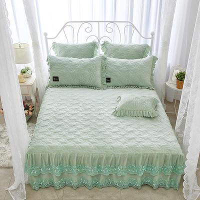 秀色玫瑰水晶绒夹棉蕾丝床裙系列--单床裙 180cmx200cm 抹茶绿
