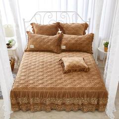 秀色玫瑰水晶绒夹棉蕾丝床裙系列--单床裙 150cmx200cm 咖色