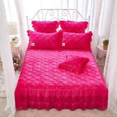 秀色玫瑰水晶绒夹棉蕾丝床裙系列--单床裙 150cmx200cm 玫红