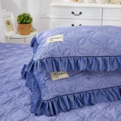 秀色玫瑰水晶绒夹棉蕾丝床裙系列---单枕套 48cmX74cm/一对 蓝灰