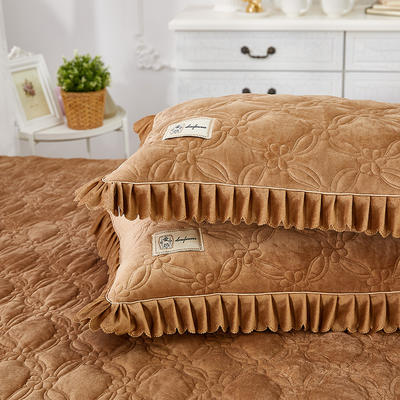 秀色玫瑰水晶绒夹棉蕾丝床裙系列---单枕套 48cmX74cm/一对 咖色