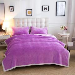 金貂绒夹棉绗绣复合休闲毛毯毯子 120*200 紫色
