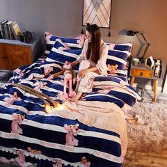 260克金貂绒印花四件套 2.2m床裙款四件套 甜蜜告白