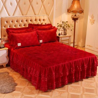 2018新款秀色玫瑰床裙单品 180cmx200cm 秀色玫瑰-大红