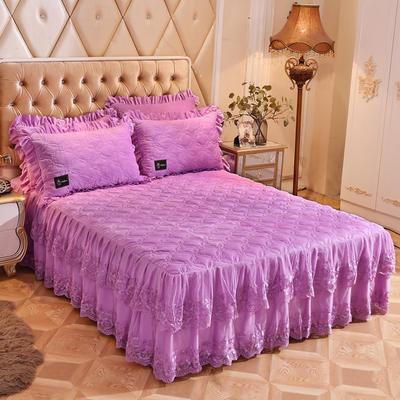 2018新款秀色玫瑰床裙单品 150cmx200cm 秀色玫瑰-浅紫