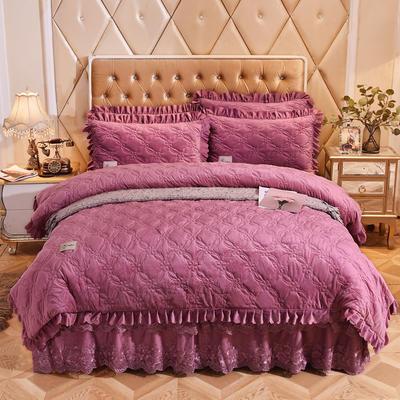 2018新款秀色玫瑰床裙四件套系列 1.8m(6英尺)床 秀色玫瑰-豆沙