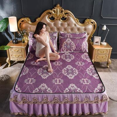 2019新款终版(床裙款冰丝席三件套) 1.5*2.0m 皇冠-紫荆之巅