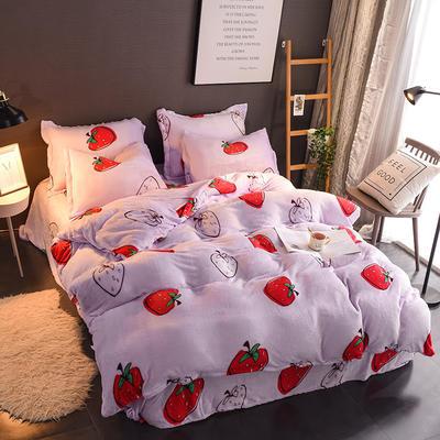 2019新款法莱绒印花四件套(超低价格) 1.35m床单款三件套 小草莓