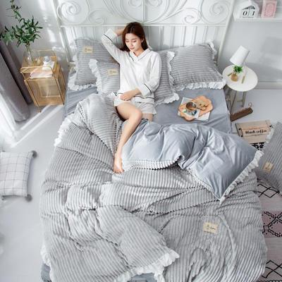 2019新款魔法绒床裙四件套系列 1.2床床裙款三件套 浅灰色