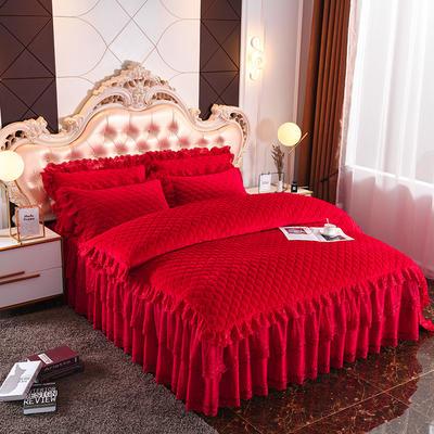 2019新款翩翩花舞水晶绒夹棉床裙款蕾丝单被套 220x240cm 翩翩花舞-大红色