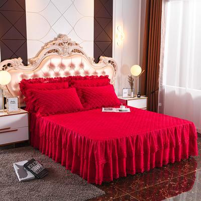2019新款翩翩起舞水晶绒夹棉床裙款蕾丝单床裙 180cmx200cm(+45CM) 翩翩花舞-大红色