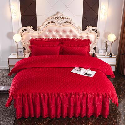 2019新款翩翩花舞水晶绒夹棉床裙款蕾丝四件套 1.5m床裙款四件套 翩翩花舞-大红色