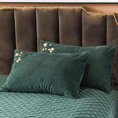 2019新款阁楼幽香水晶绒绣花系列单品枕套 48cmX74cm 一对 阁楼幽香-祖母绿